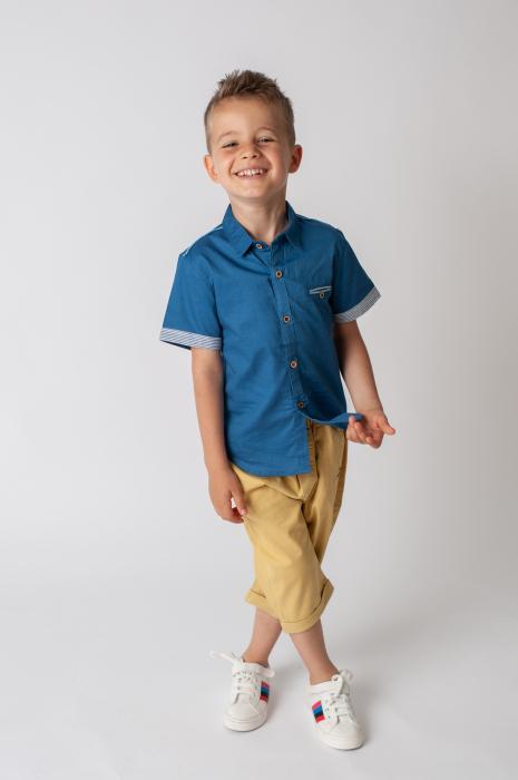 Pantaloni  trei sferturi cu manseta culoare galben mustar 5