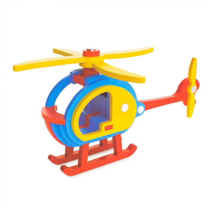 Piese din lemn pentru asamblare - 29 piese - elicopter 0