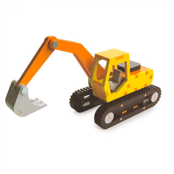 Piese din lemn pentru asamblare - 39 piese - excavator 0