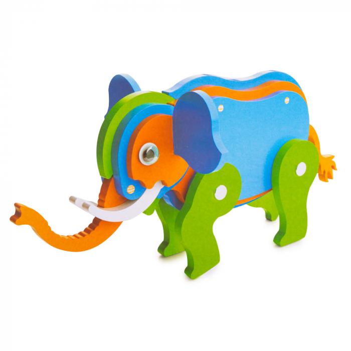 Piese din lemn pentru asamblare - 21 piese - elefant 0