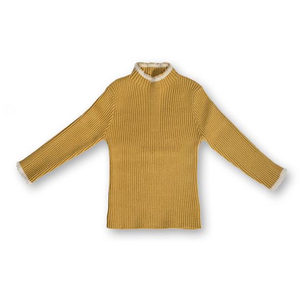 Pulover Simplu din Tricot cu Blăniță 2