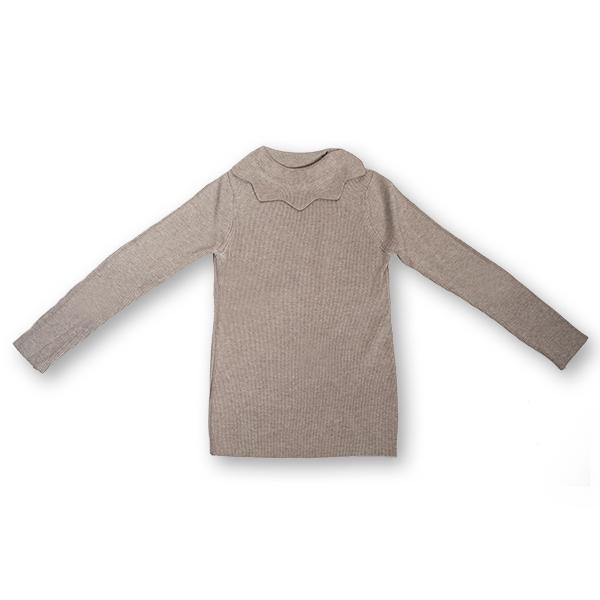 Pulover Simplu din Tricot  cu Volănaș [0]