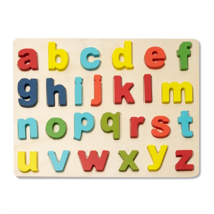Puzzle 3D din lemn alfabet cu litere mici 0