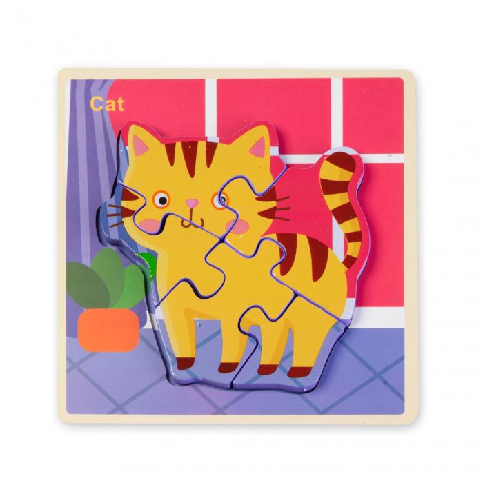 Puzzle 3D din lemn - pisicuta 0
