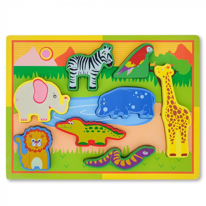 Puzzle 3D din lemn cu  animale salbatice 1