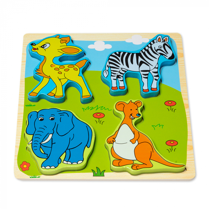 Puzzle 3D din lemn cu animale salbatice 0