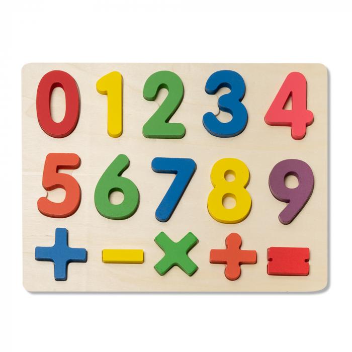 Puzzle 3D din lemn cu cifre si simboluri 0