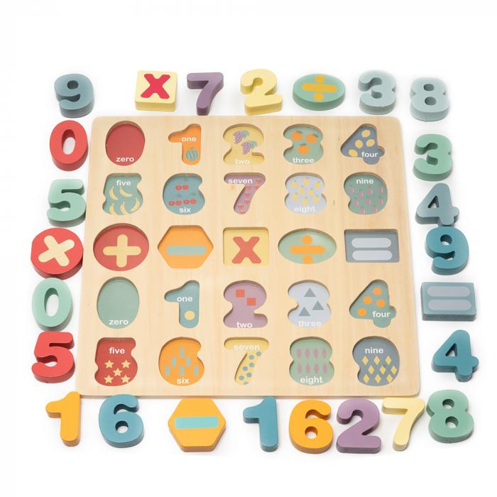 Puzzle 3D din lemn cu cifre si simboluri 1