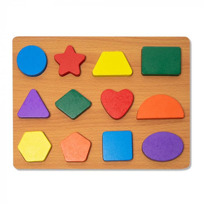 Puzzle 3D din lemn cu forme geometrice colorate 0
