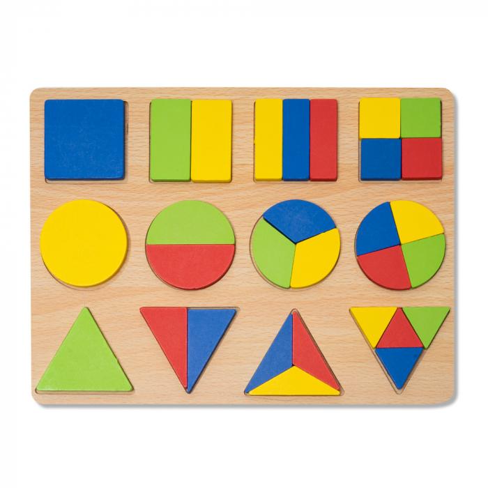 Puzzle 3D din lemn cu forme geometrice colorate [0]