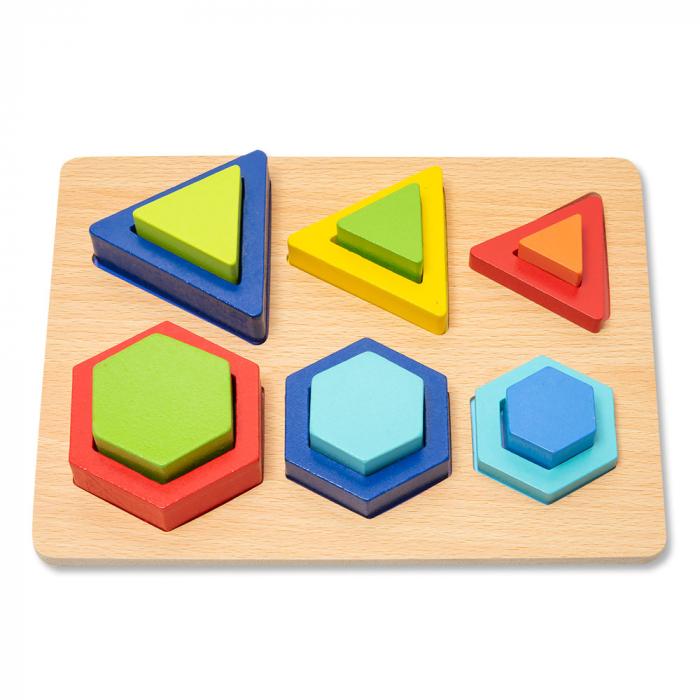 Puzzle 3D din lemn in cutie cu forme geometrice colorate 0