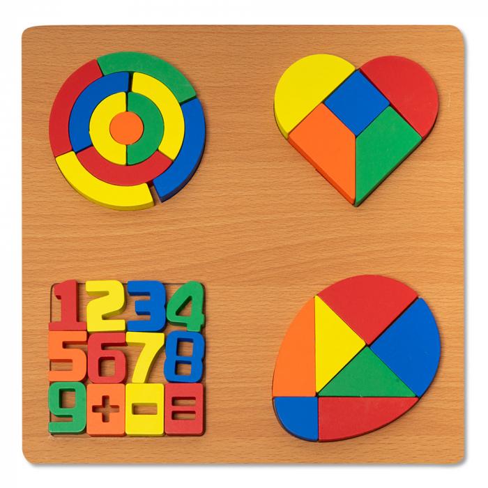 Puzzle 3D din lemn cu forme geometrice si cifre colorate 0