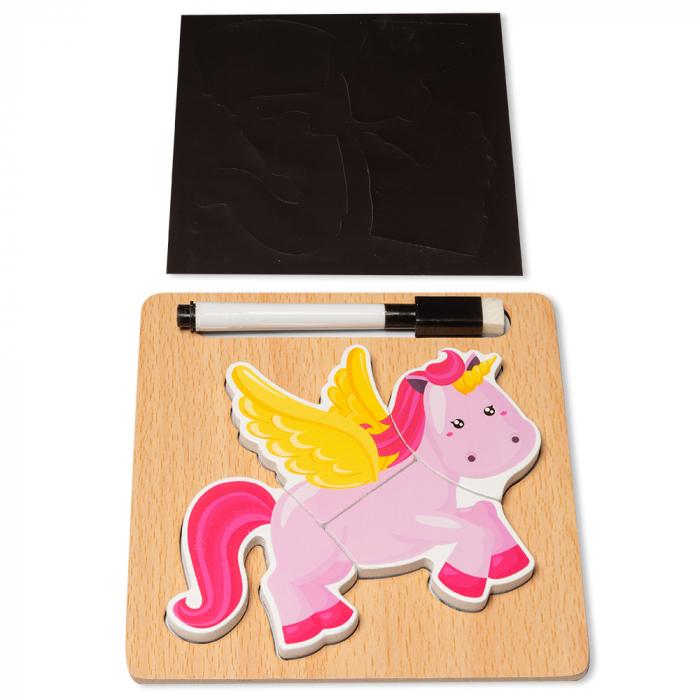 Puzzle 3D din lemn cu stilou - unicorn 0