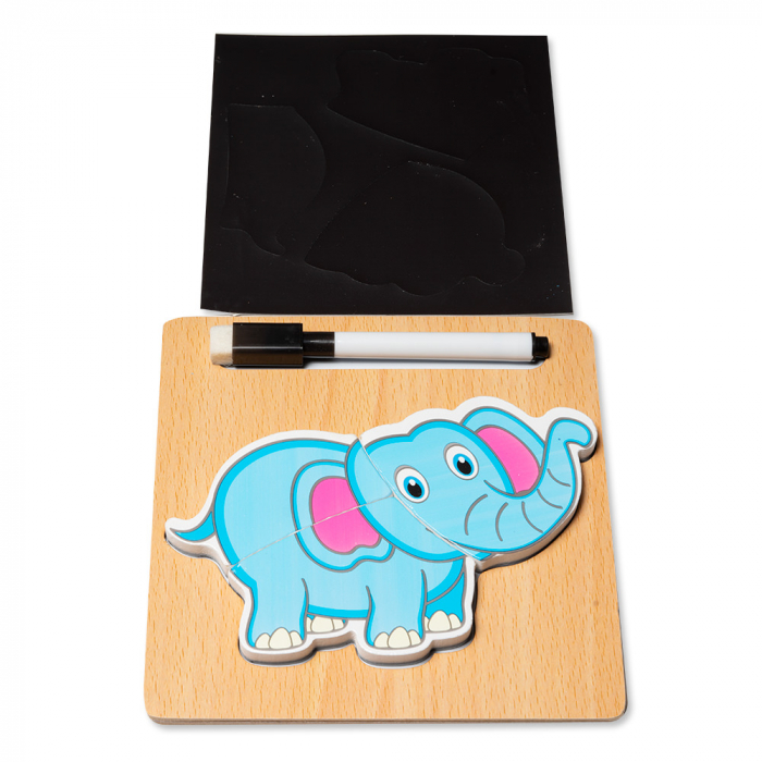 Puzzle 3D din lemn cu stilou - elefant 0