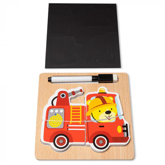 Puzzle 3D din lemn cu stilou - masina de pompieri 0