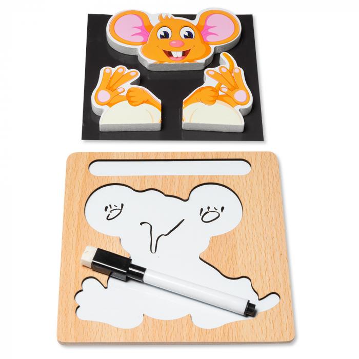 Puzzle 3D din lemn cu stilou - soricel 1