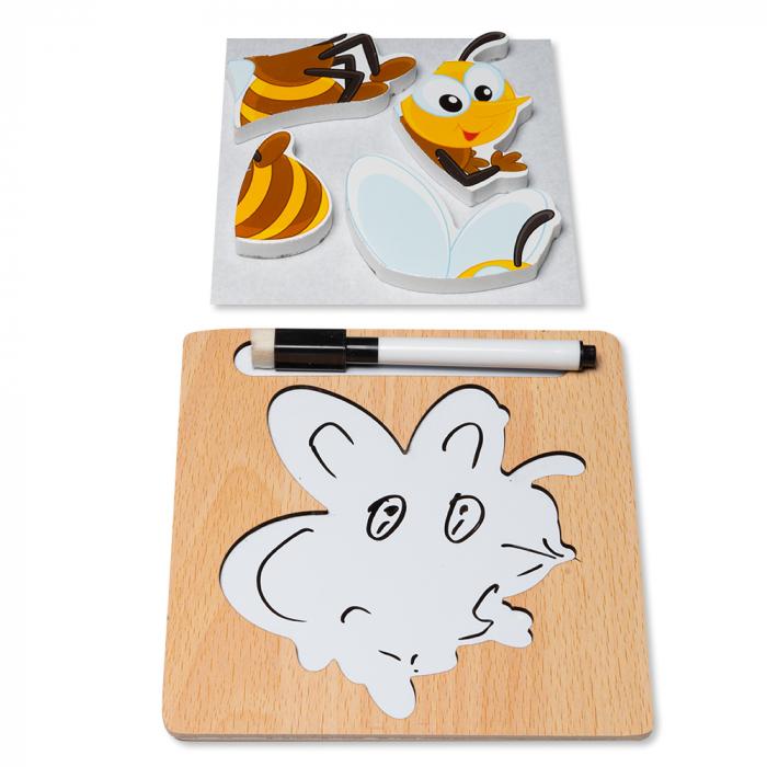 Puzzle 3D din lemn cu stilou - albinuta 1