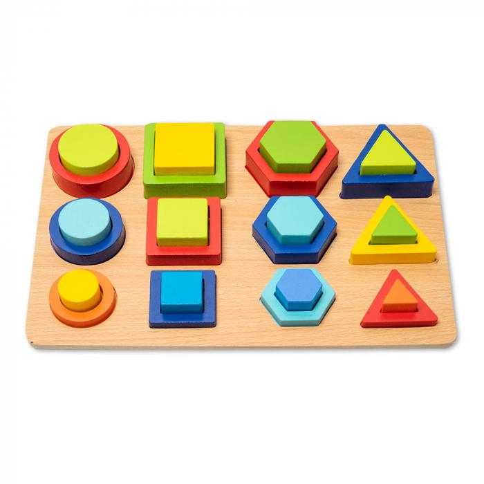 Puzzle 3D din lemn in cutie cu forme geometrice colorate [0]