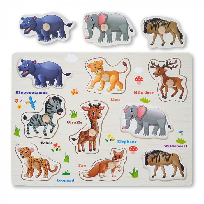 Puzzle din lemn cu animale 0