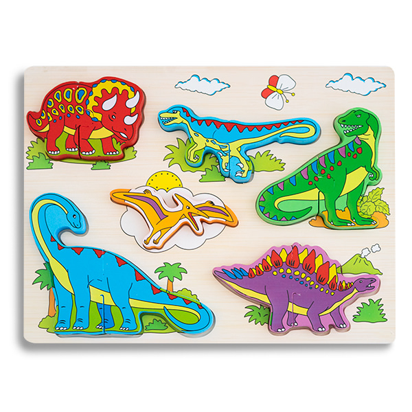 Puzzle 3D din lemn cu dinozauri 0