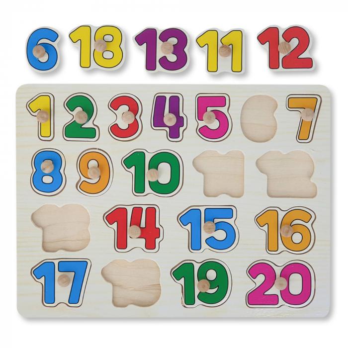 Puzzle din lemn cu cifre 0
