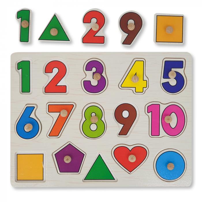 Puzzle din lemn cu cifre si forme geometrice [0]