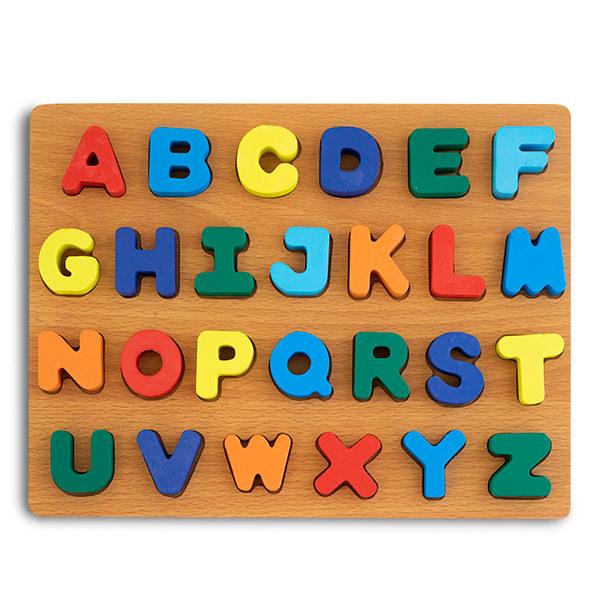 Puzzle 3D din lemn alfabet cu litere mari 0