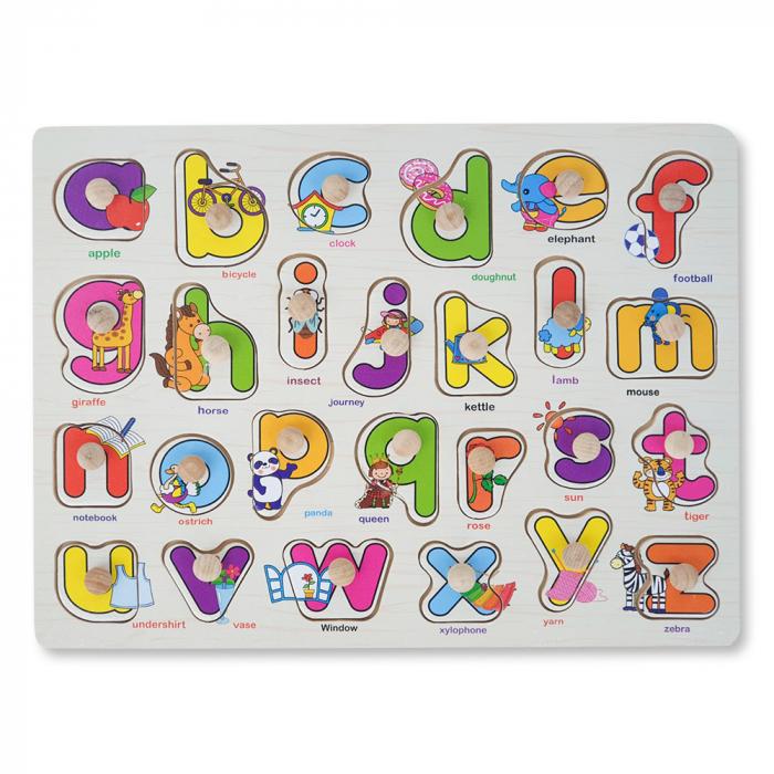 Puzzle din lemn cu litere si desene vesele [1]