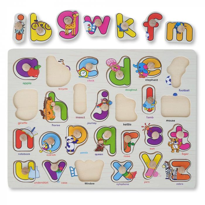 Puzzle din lemn cu litere si desene vesele [0]