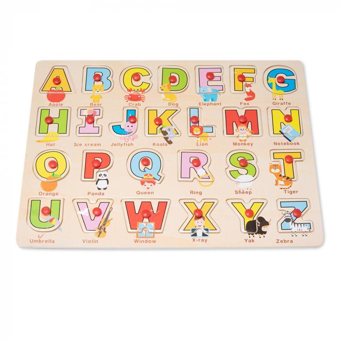Puzzle din lemn cu litere si desene vesele 0