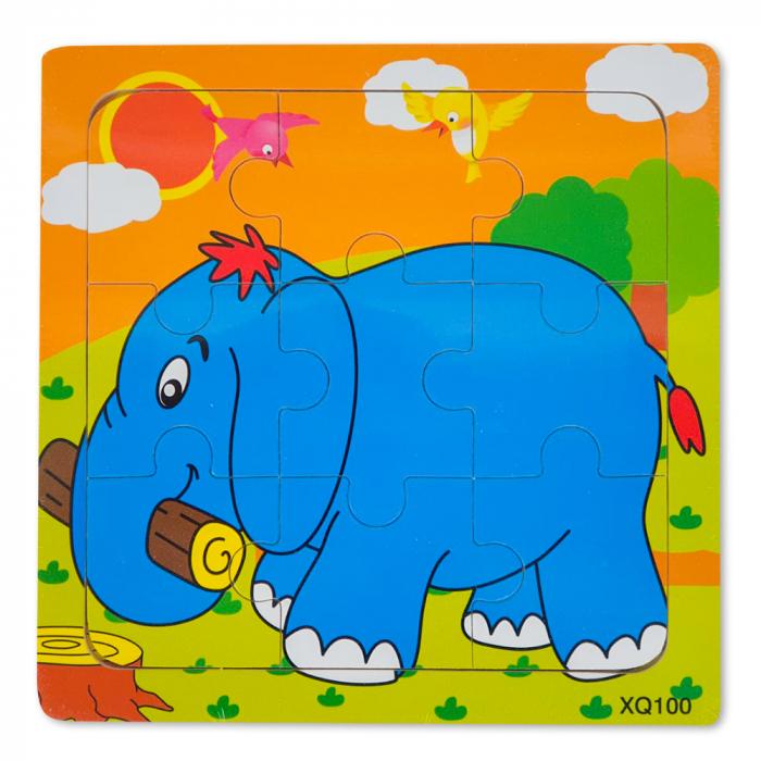Puzzle din lemn elefant [0]