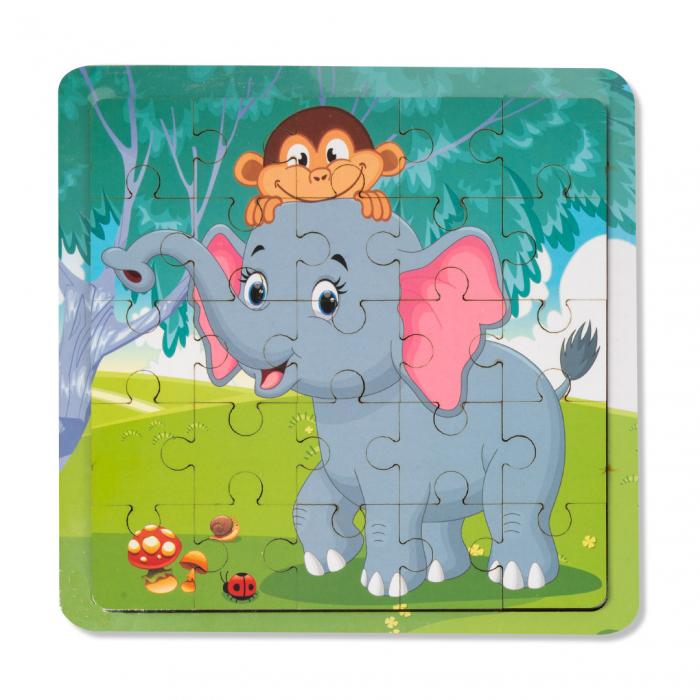 Puzzle din lemn - elefant 0
