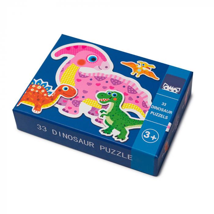 Puzzle din lemn in cutie - dinozauri 0