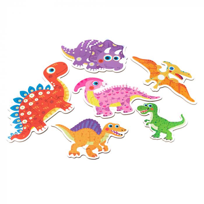 Puzzle din lemn in cutie - dinozauri 1