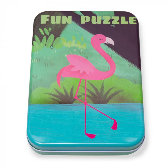 Puzzle din lemn in cutie metalica 0