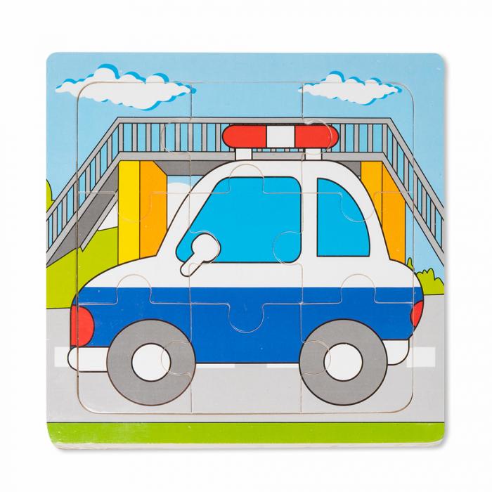 Puzzle din lemn masina de politie 0