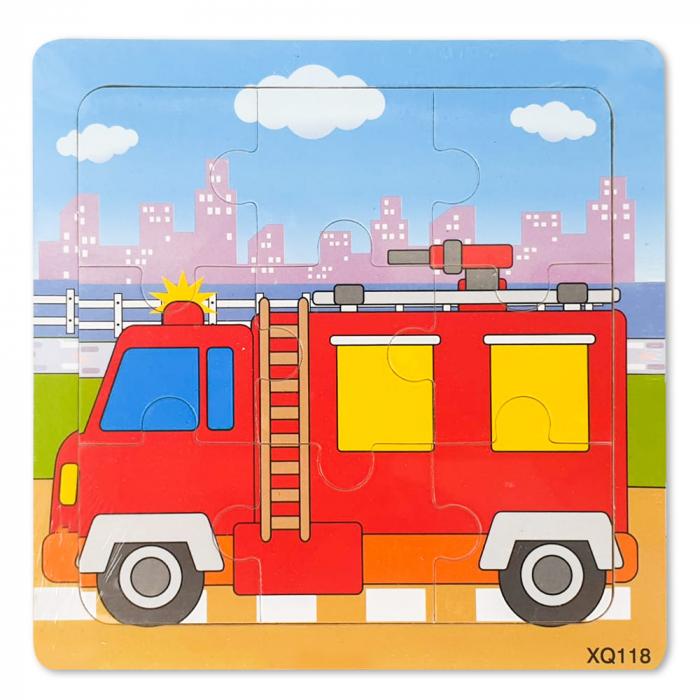 Puzzle din lemn masina de pompieri 0