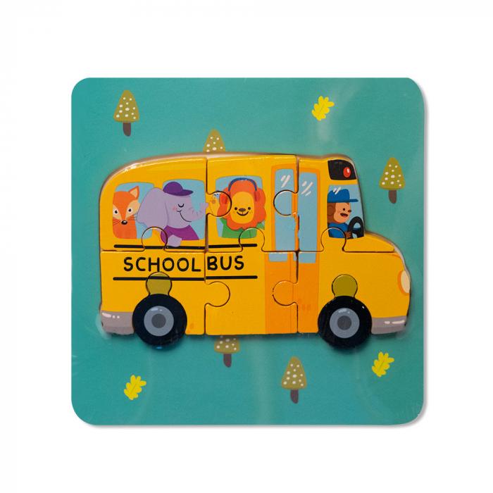 Puzzle mic 3D din lemn - autobuz scolar [0]