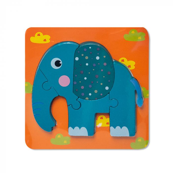 Puzzle mic 3D din lemn - elefant [0]