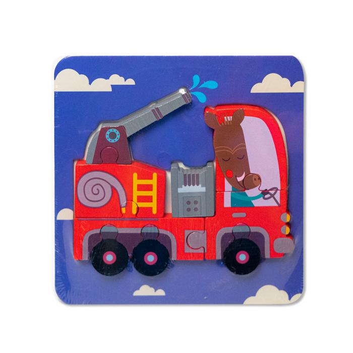 Puzzle mic 3D din lemn - masina de pompieri 0