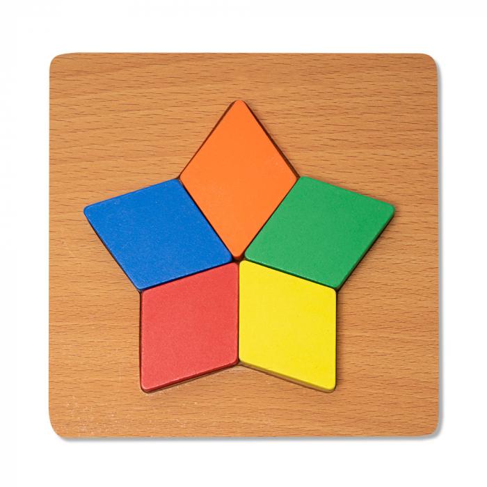Puzzle mic 3D din lemn cu forme geometrice colorate 0