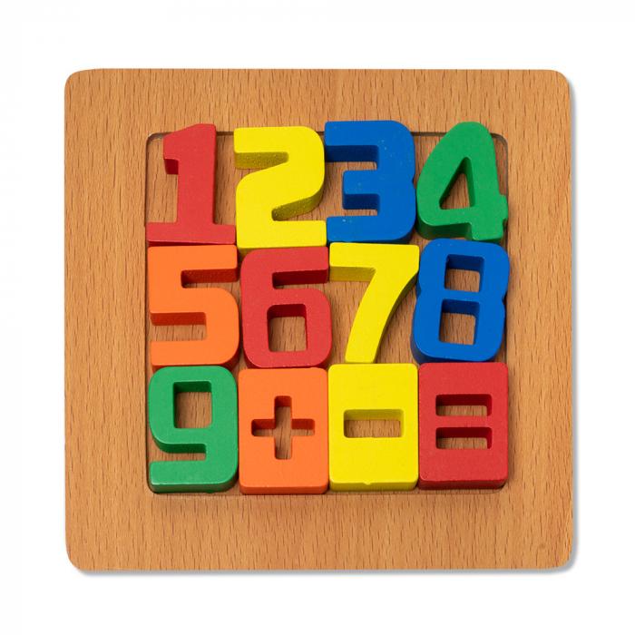 Puzzle mic 3D din lemn cu cifre si simboluri colorate 0