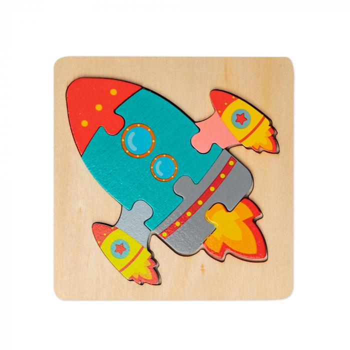 Puzzle mic 3D din lemn - racheta 0
