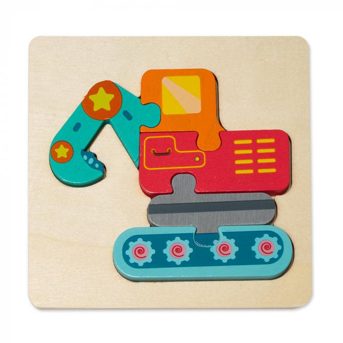 Puzzle mic 3D din lemn - excavator 0