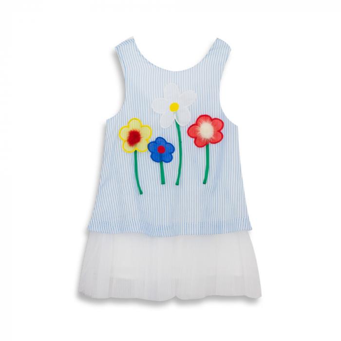 Rochie cu dungi albastre si flori cu blanita 0