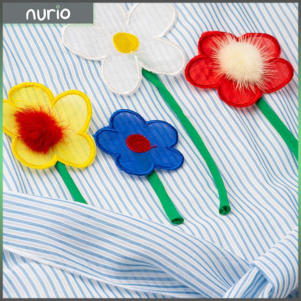 Rochie cu dungi albastre si flori cu blanita 2