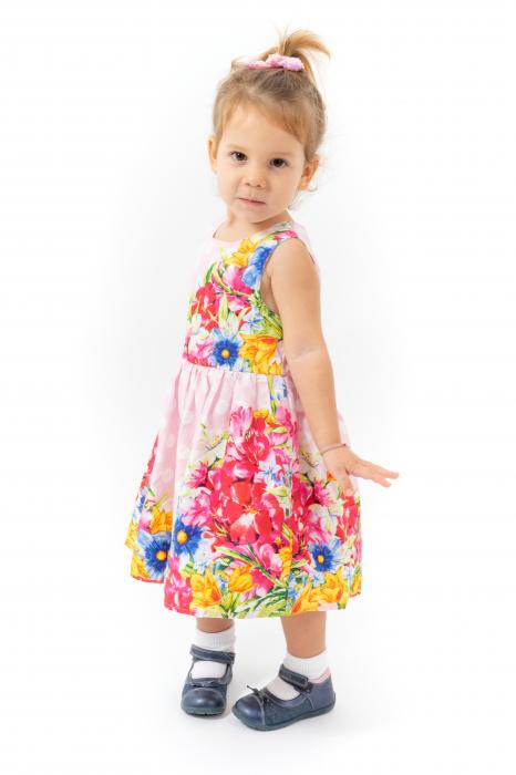 Rochie cu imprimeu floral si buline 1