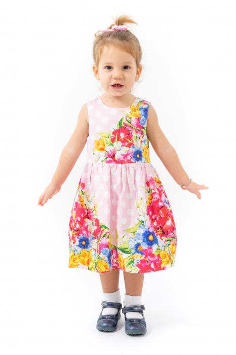 Rochie cu imprimeu floral si buline 0