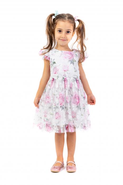 Rochie eleganta cu tulle imprimat cu flori 0