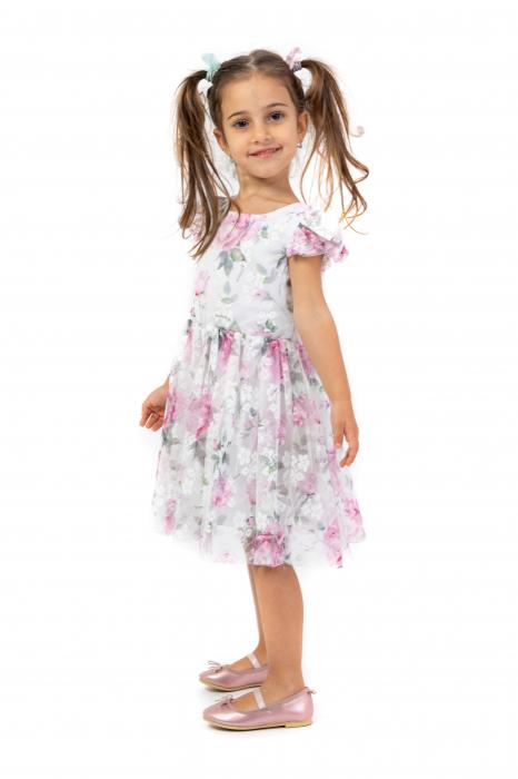 Rochie eleganta cu tulle imprimat cu flori 1